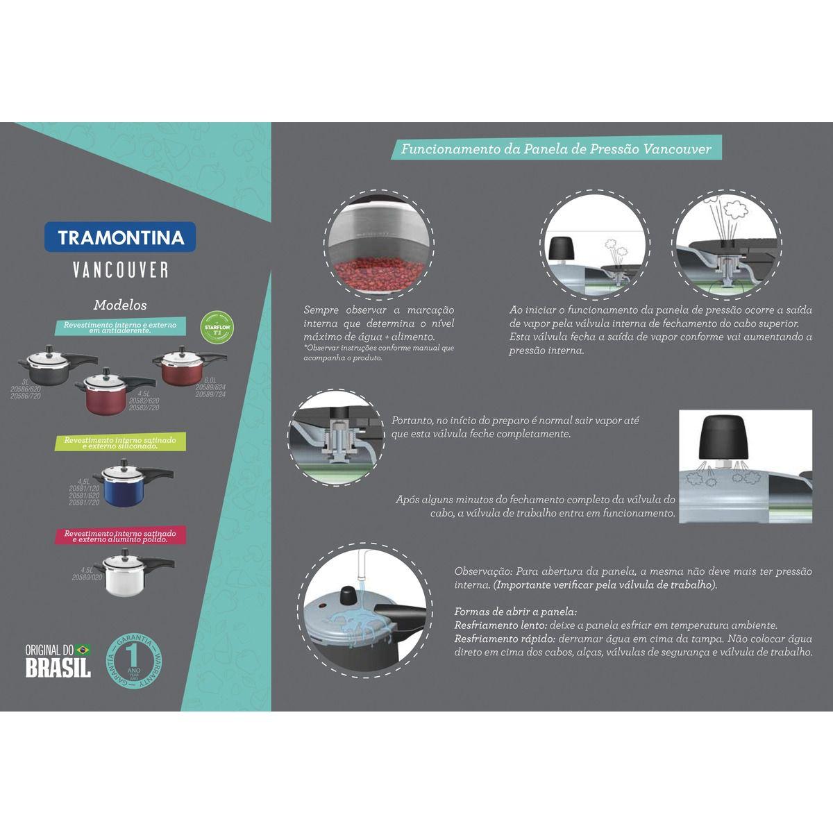 Panela de pressão de alumínio com revestimento interno antiaderente Ø20cm 20586/720 | Lojas Estrela