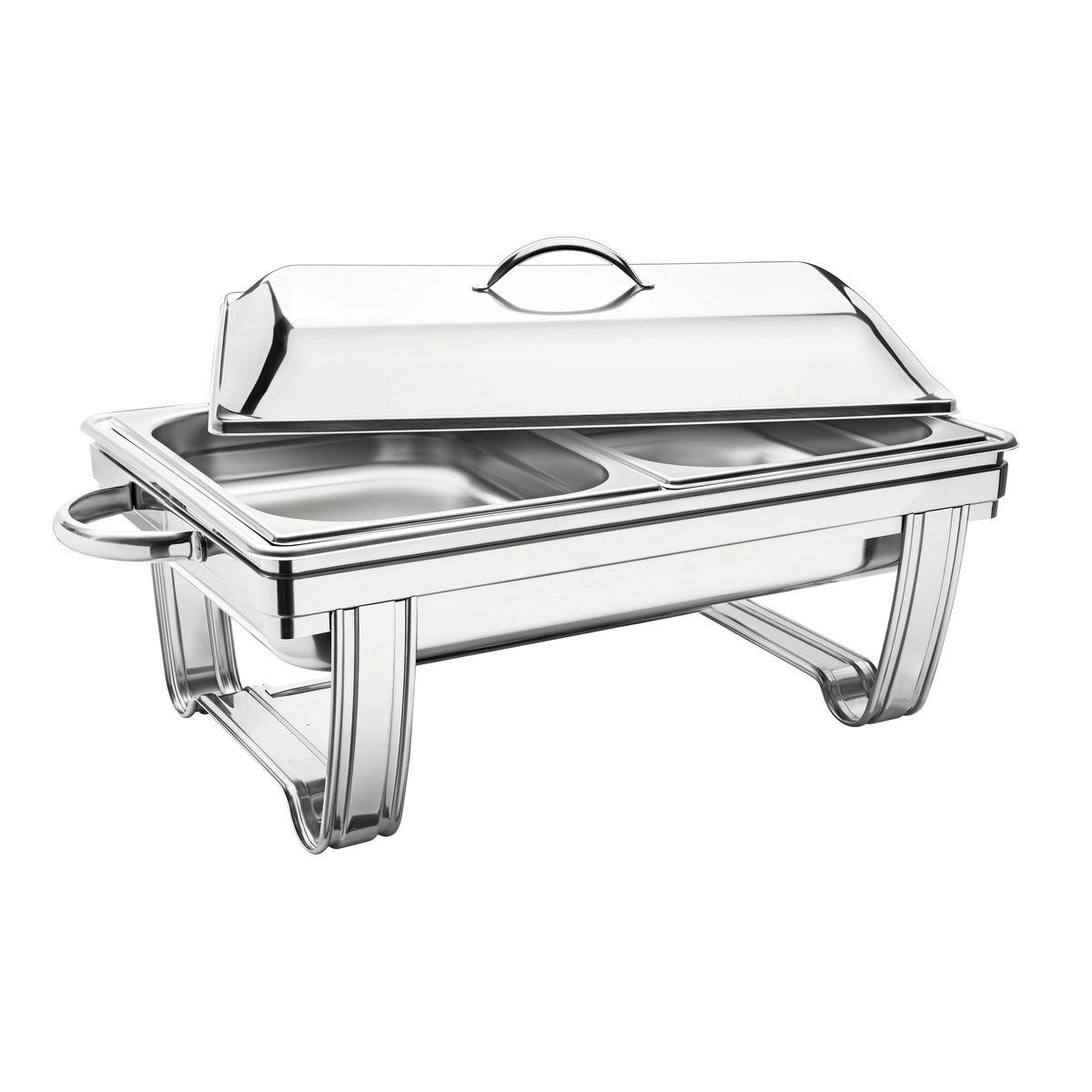 Rechaud banho-maria retangular com tampa removível aço inox 61047/023   Lojas Estrela