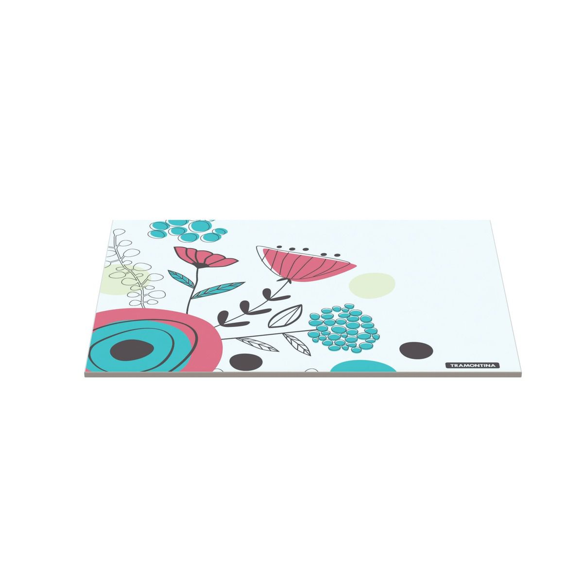 Tábua Tramontina Retangular em Vidro Branco com Estampa Floral 25x35 cm 10399/003 | Lojas Estrela