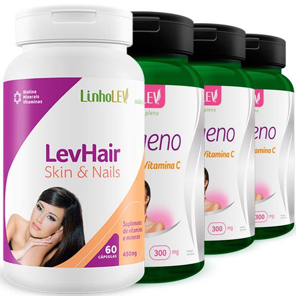 Kit Beleza Intensa One Skin Nails LevHair + 3 Colágeno Hidrolisado