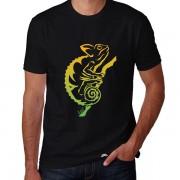 Camiseta Masculina Manga Curta Estampa Camaleão Tribal Exclusiva Assinada Gola Redonda Malha 100% Algodão Fio 30.1 Penteada