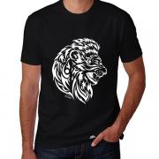 Camiseta Masculina Manga Curta Estampa Leão Tribal Exclusiva Assinada Gola Redonda Malha 100% Algodão Fio 30.1 Penteada