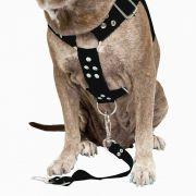 Coleira Peitoral Cachorro e Adaptador Para Cinto de Segurança Veicular Tamanho G - Cor Preta