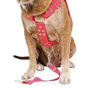 Coleira Peitoral Cachorro e Adaptador Para Cinto de Segurança Veicular Tamanho G - Cor Vermelha