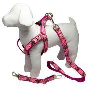 Coleira Peitoral Cachorro Porte Menor Guia Adaptador Cinto Segurança Tamanho M - Cor Rosa