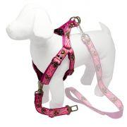 Coleira Peitoral Cachorro Porte Menor E Adaptador Cinto Segurança Tamanho M - Cor Rosa