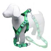 Coleira Peitoral Cachorro Porte Menor E Adaptador Cinto Segurança Tamanho M - Cor Verde