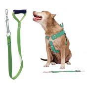 Coleira Peitoral Guia Cinto Segurança Cachorro Doberman Pitbull Anti Puxao - G Verde