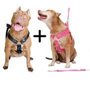 Kit 2x Coleira Peitoral Cachorro Porte Maior Guia Adaptador Cinto Segurança Tamanho M - Cores Preta + Rosa