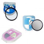 Kit 3 peças Filtros Com Case Uv Dhd + CPL Circular Polarizador + Nd Densidade Neutra Variável De Nd2 Até Nd400 Para Lentes Com Rosca Frontal De 58mm