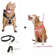 Kit 2x Coleira Peitoral Cachorro Guia Adaptador Cinto Segurança Tamanho G - Cores Preta + Vermelha