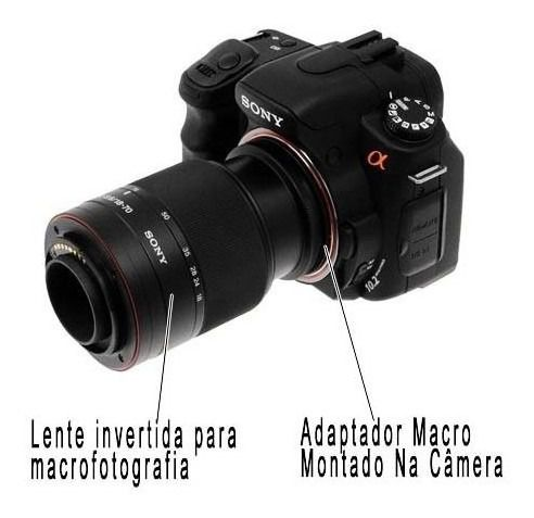 Anel Inversor Macro Fotografia Lente Sony Nex E-mount 72mm