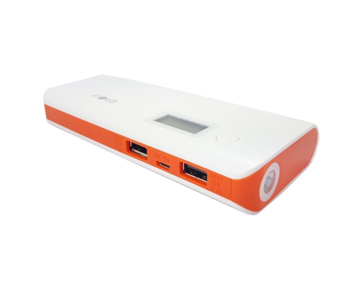 Carregador Powerbank Universal Portátil 10000 Mah Original Inova Pow-1041 - Laranja
