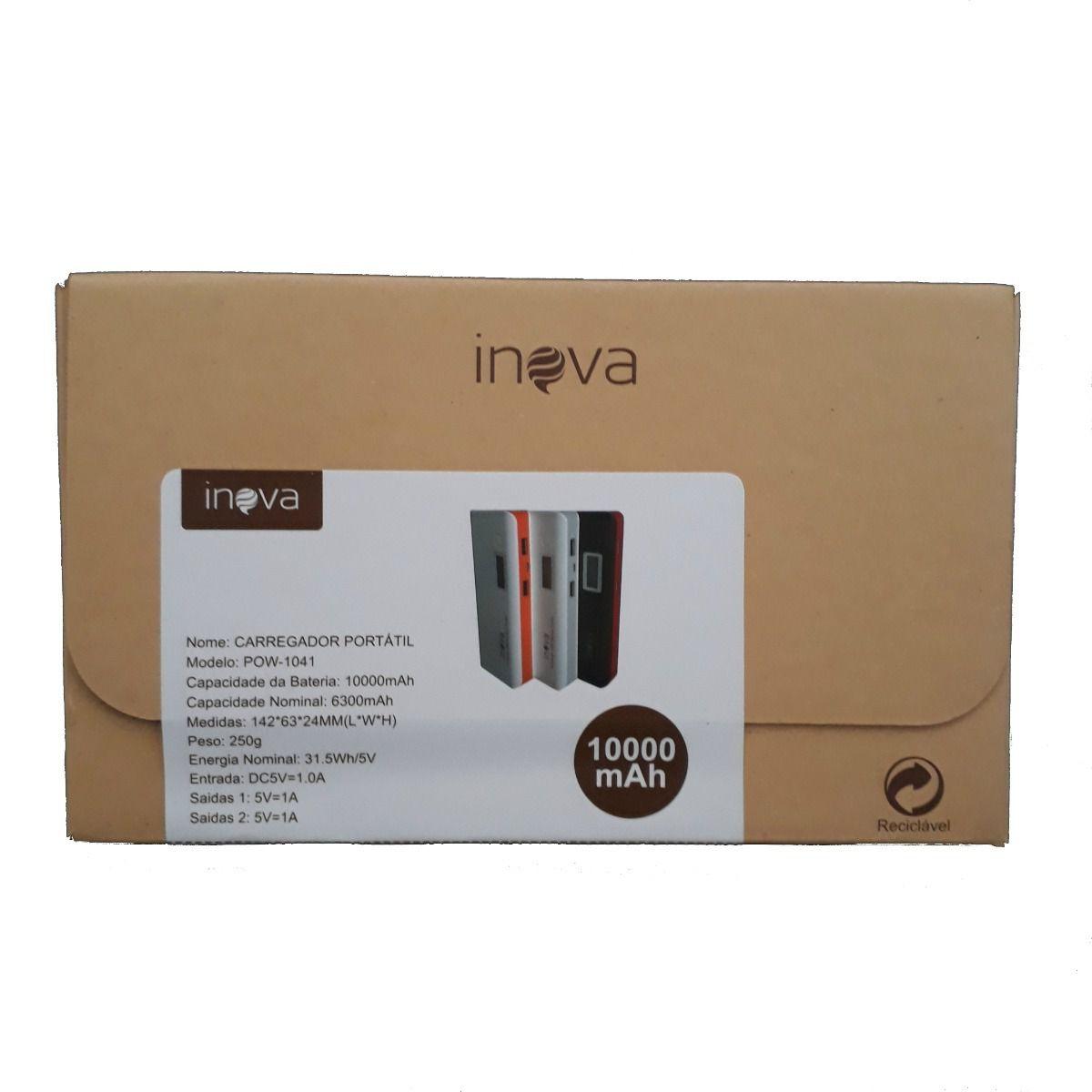 Carregador Powerbank Universal Portátil 10000 Mah Original Inova Pow-1041 - Preto com Vermelho