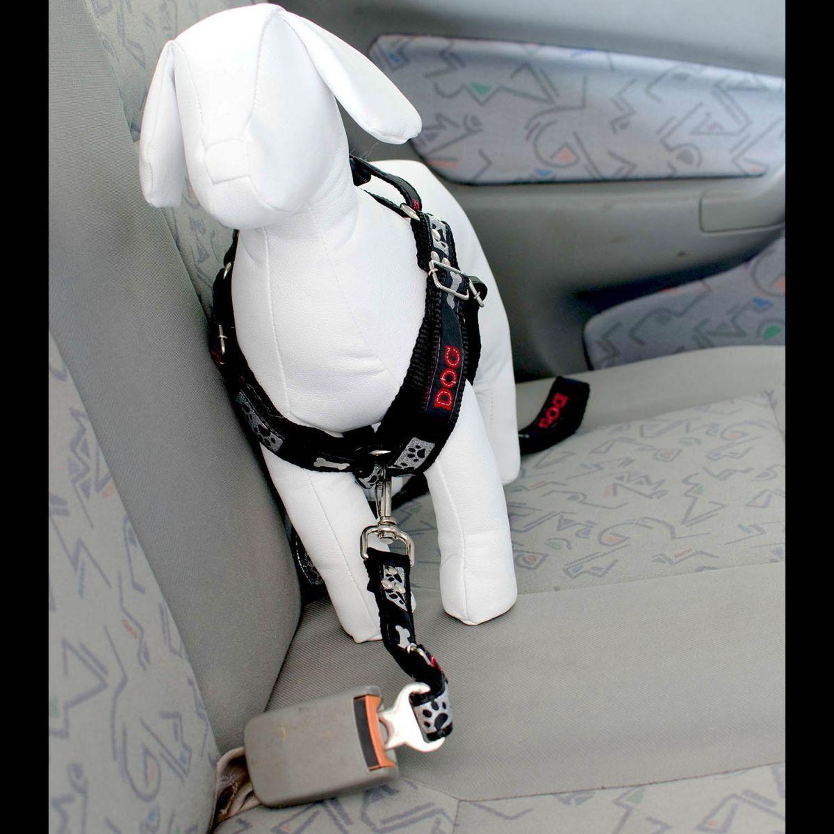 Coleira Peitoral Cachorro E Adaptador Cinto Segurança Tamanho P - Cor Preta