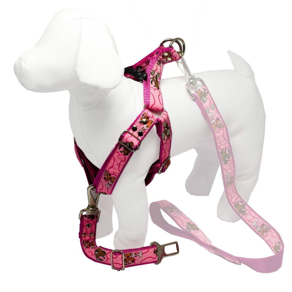 Coleira Peitoral Cachorro E Adaptador Cinto Segurança Tamanho P - Cor Rosa