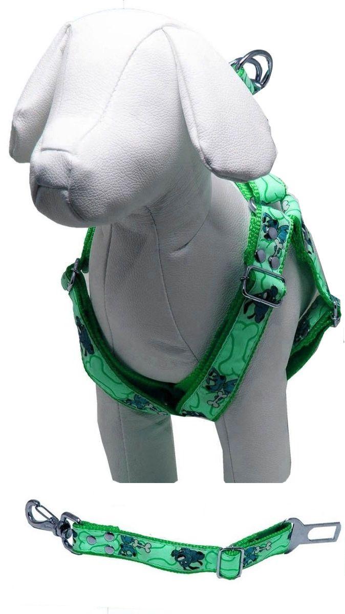 Coleira Peitoral Cachorro E Adaptador Cinto Segurança Tamanho P - Cor Verde