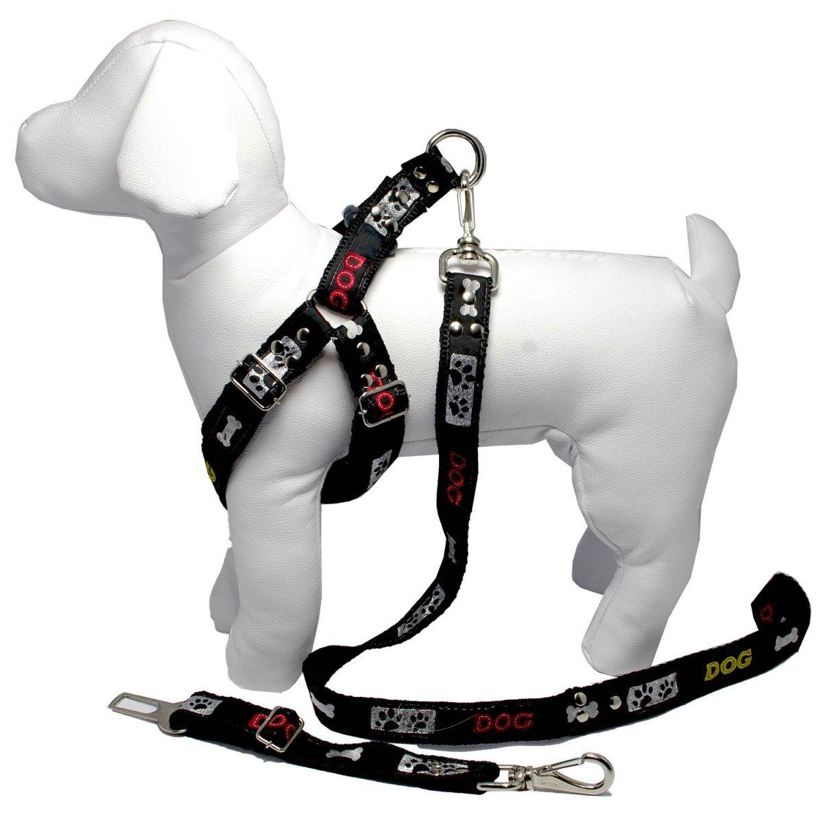 Coleira Peitoral Cachorro Porte Menor Guia Adaptador Cinto Segurança Tamanho M - Cor Preta
