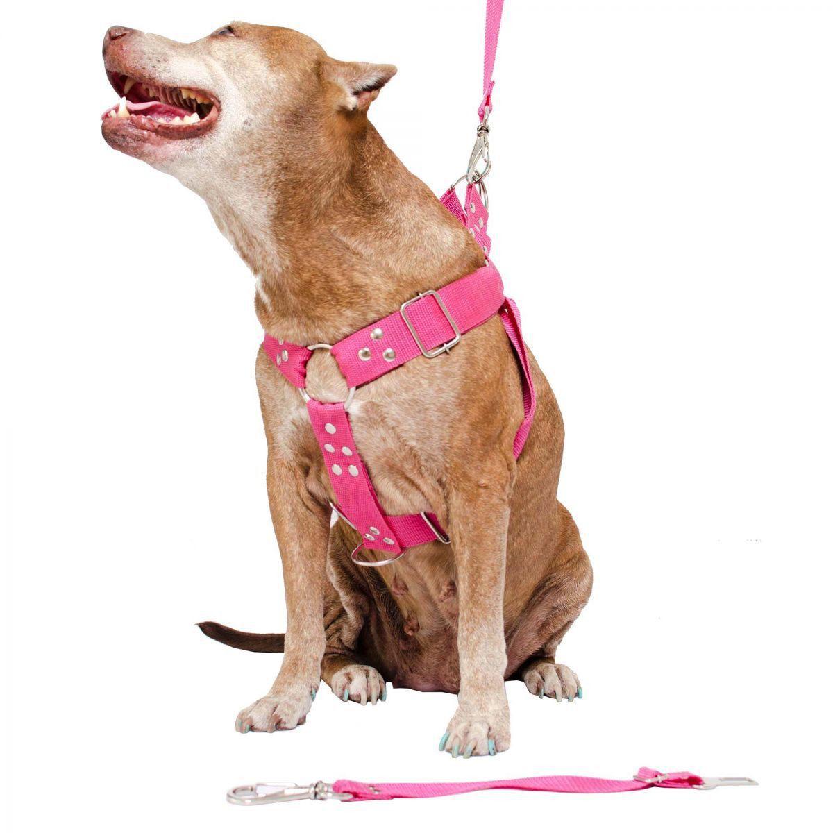 Coleira Peitoral Cachorro Porte Maior Guia Adaptador Cinto Segurança Tamanho M - Cor Rosa