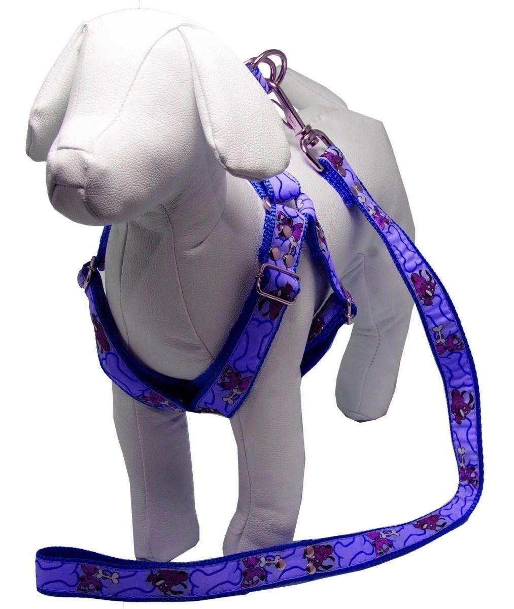 Coleira Peitoral Cachorro Guia Adaptador Cinto Segurança Tamanho P - Cor Azul