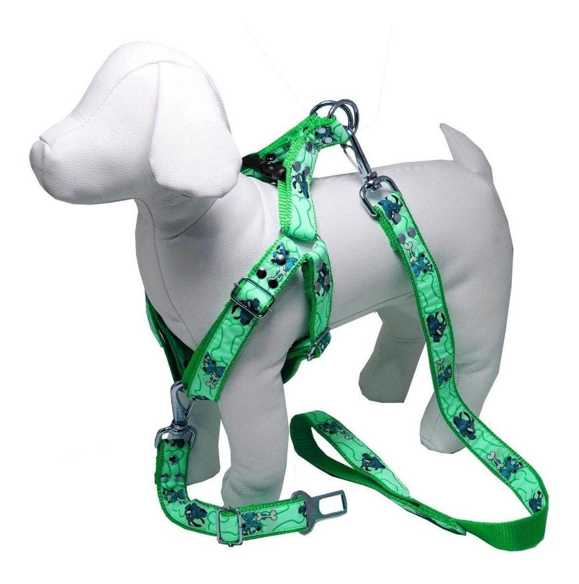 Coleira Peitoral Cachorro Guia Adaptador Cinto Segurança Tamanho P - Cor Verde