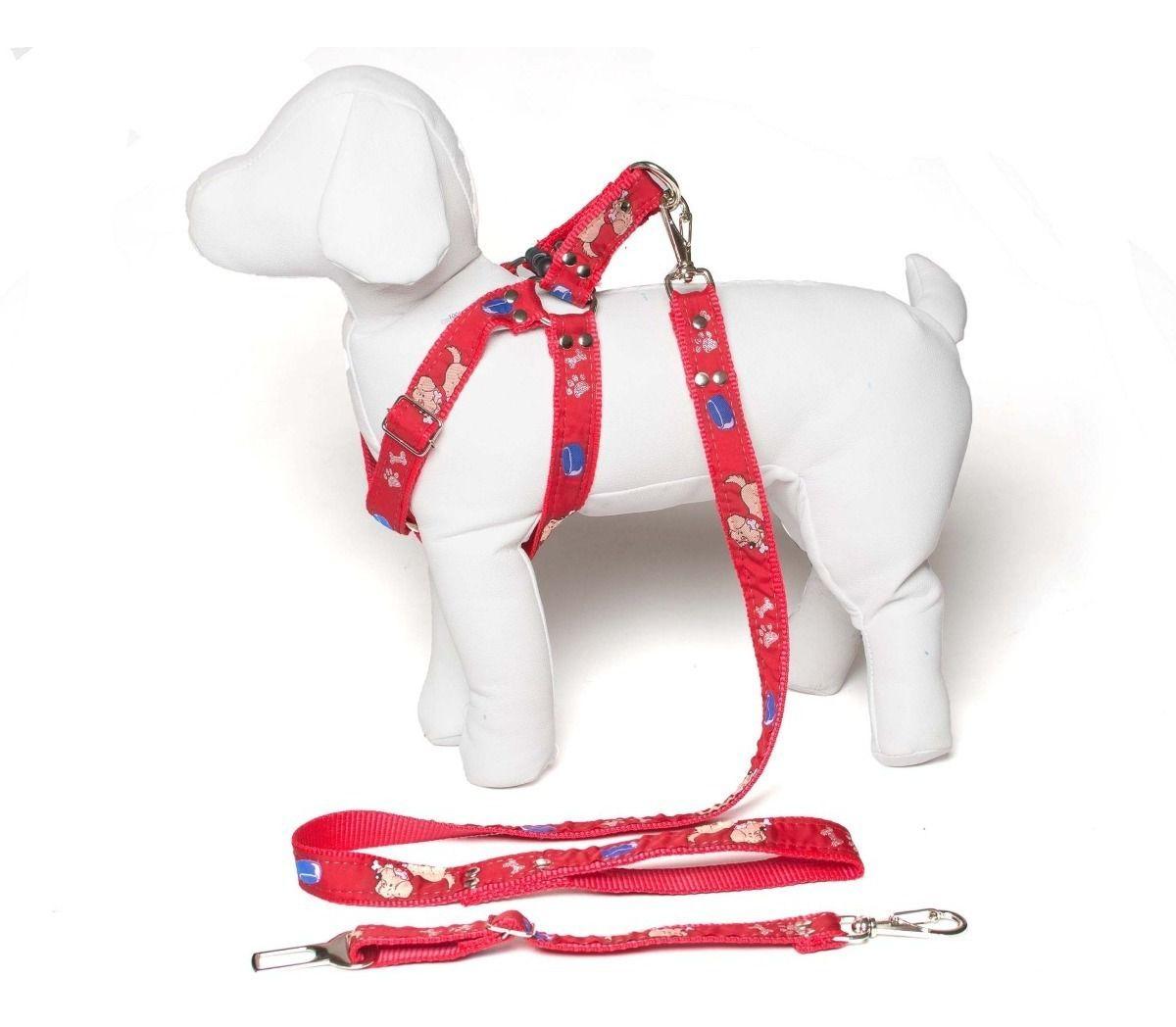 Coleira Peitoral Cachorro Guia Adaptador Cinto Segurança Tamanho P - Cor Vermelho
