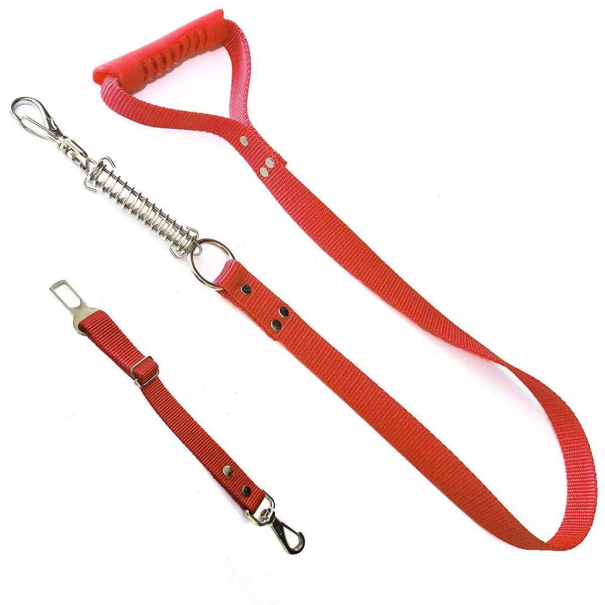 Coleira Peitoral Guia Cinto Segurança Cachorro Doberman Pitbull Anti Puxao - G Vermelho