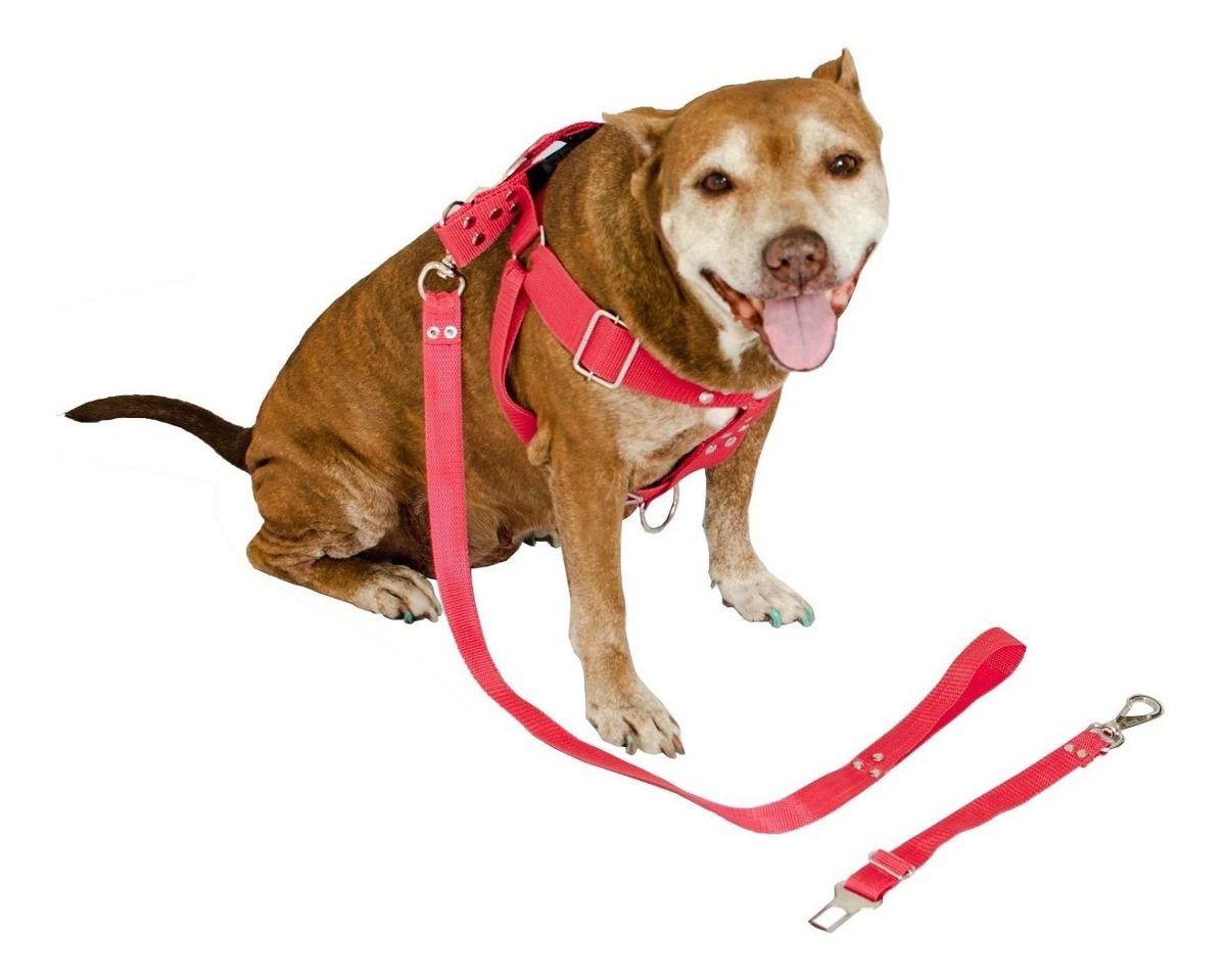 Coleira Peitoral Cachorro Porte Maior Guia Adaptador Cinto Segurança Tamanho M - Cor Vermelha