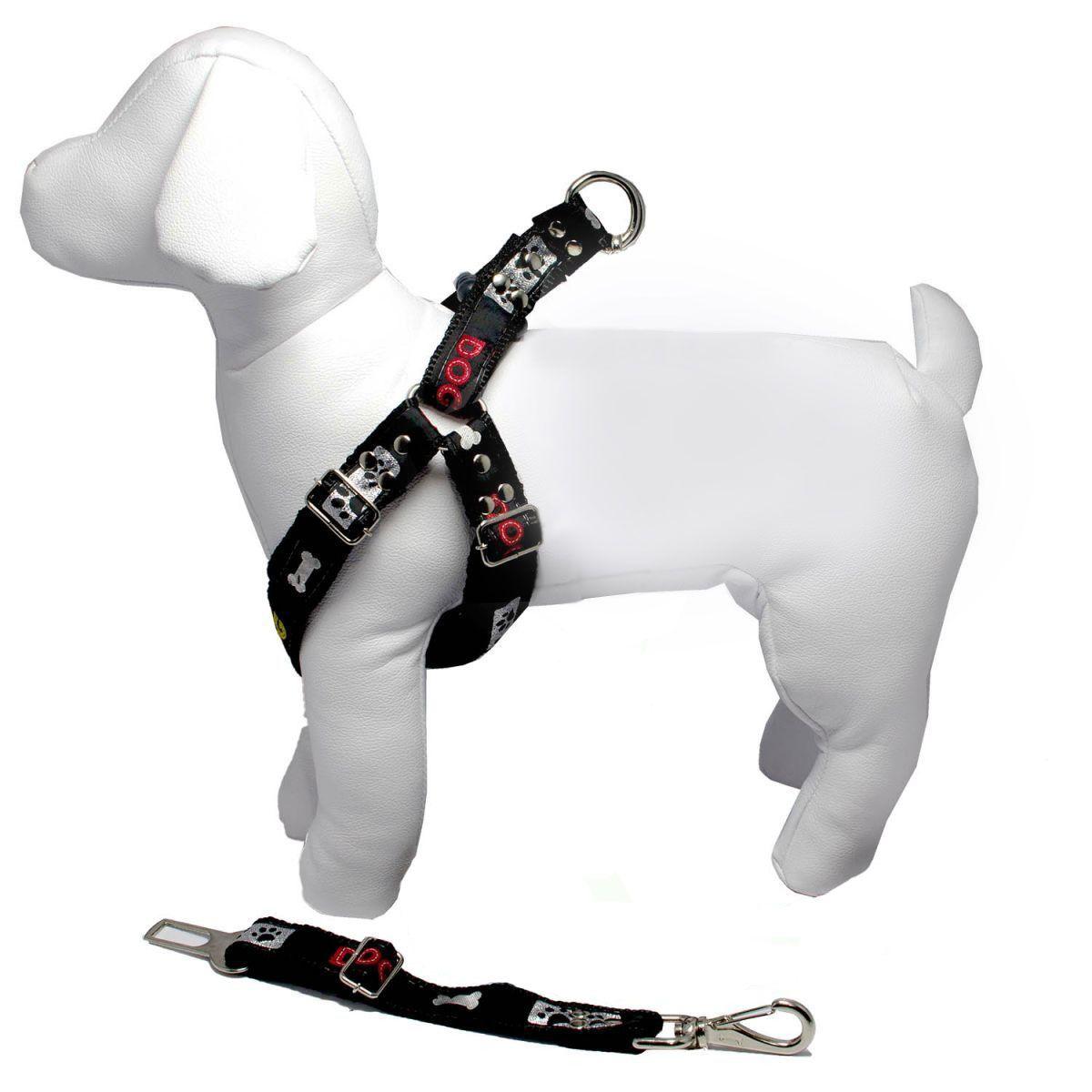 Coleira Peitoral Cachorro Porte Menor E Adaptador Cinto Segurança Tamanho M - Cor Preta