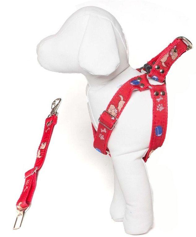 Coleira Peitoral Cachorro Porte Menor E Adaptador Cinto Segurança Tamanho M - Cor Vermelho