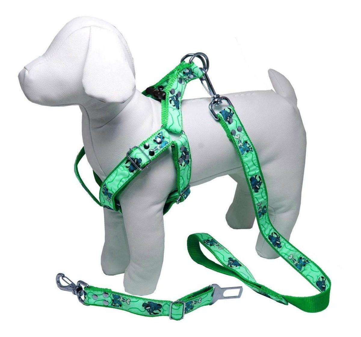 Coleira Peitoral Cachorro Porte Menor Guia Adaptador Cinto Segurança Tamanho M - Cor Verde