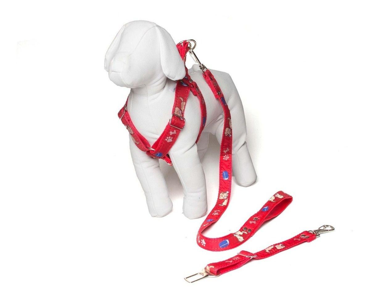 Coleira Peitoral Cachorro Porte Menor Guia Adaptador Cinto Segurança Tamanho M - Cor Vermelho