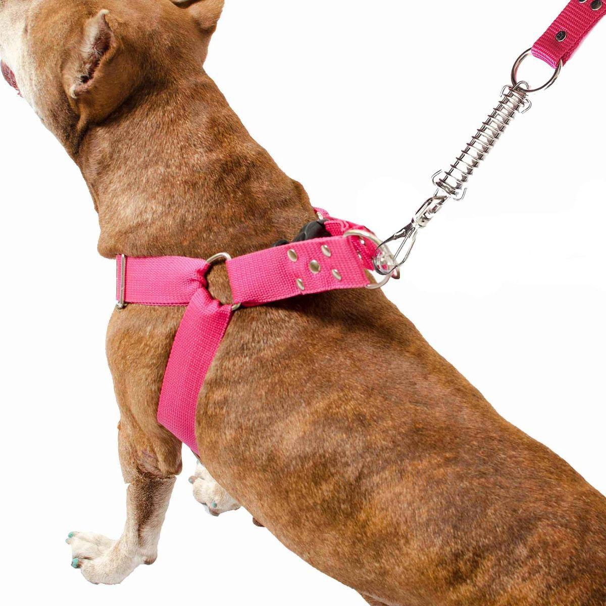 Coleira Peitoral Guia Cinto Segurança Cachorro Doberman Pitbull Anti Puxao - G Rosa