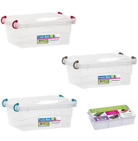 Conjunto 3 Potes + Box Organizador P Para Freezer Microondas Marmita