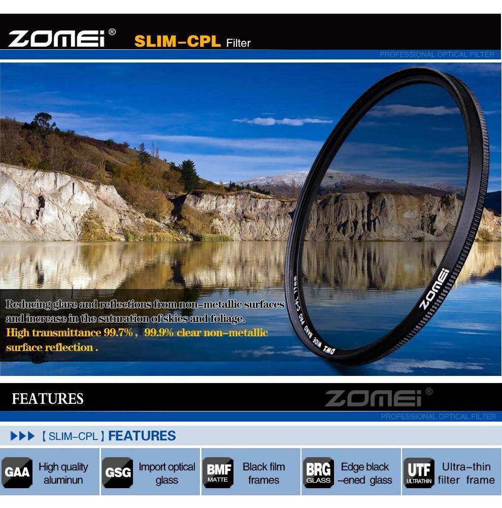 Filtro CPL Polarizador Zomei rosca 62mm Canon Nikon Sony