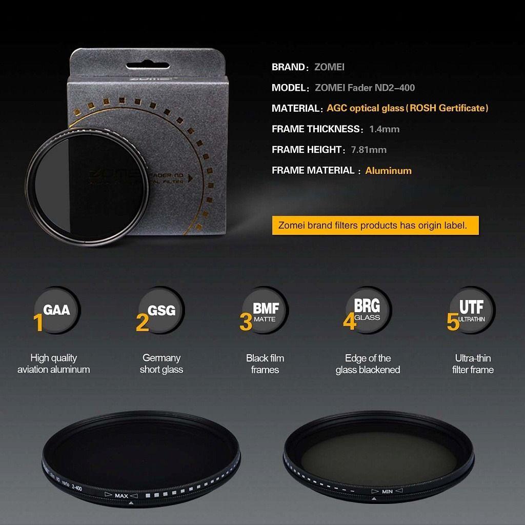 Filtro Nd densidade neutra variável Zomei Nd2 - Nd400 Ø58mm P/ Lentes Canon 18-55mm ou Canon Ef 75-300mm F/4.0-5.6 Iii