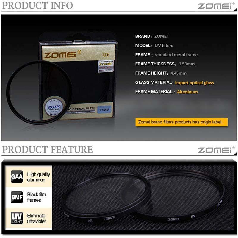 Filtro Protetor Uv Zomei Lente Rosca 49mm Profissional P/ Lentes Canon 50mm 1.8 STM ou Sony E 18-55mm F/3.5-5.6 Oss