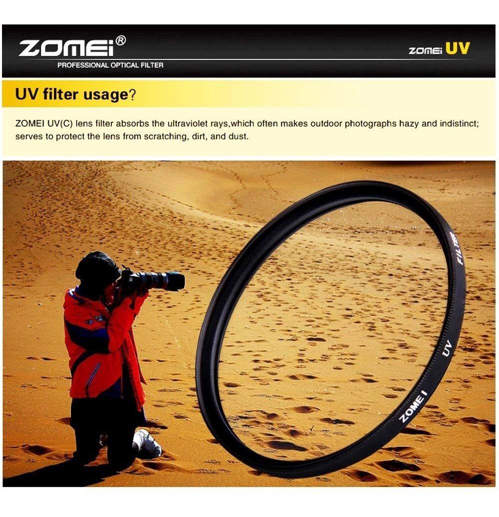 Filtro Protetor Uv Zomei Lente Rosca 52mm Profissional P/ Lentes Canon 50mm 1.8 II ou Nikon Af-s 18-55mm