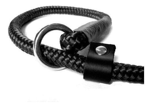 Guia Unificada 6mm Coleira Enforcador Cão Adestramento - Preta
