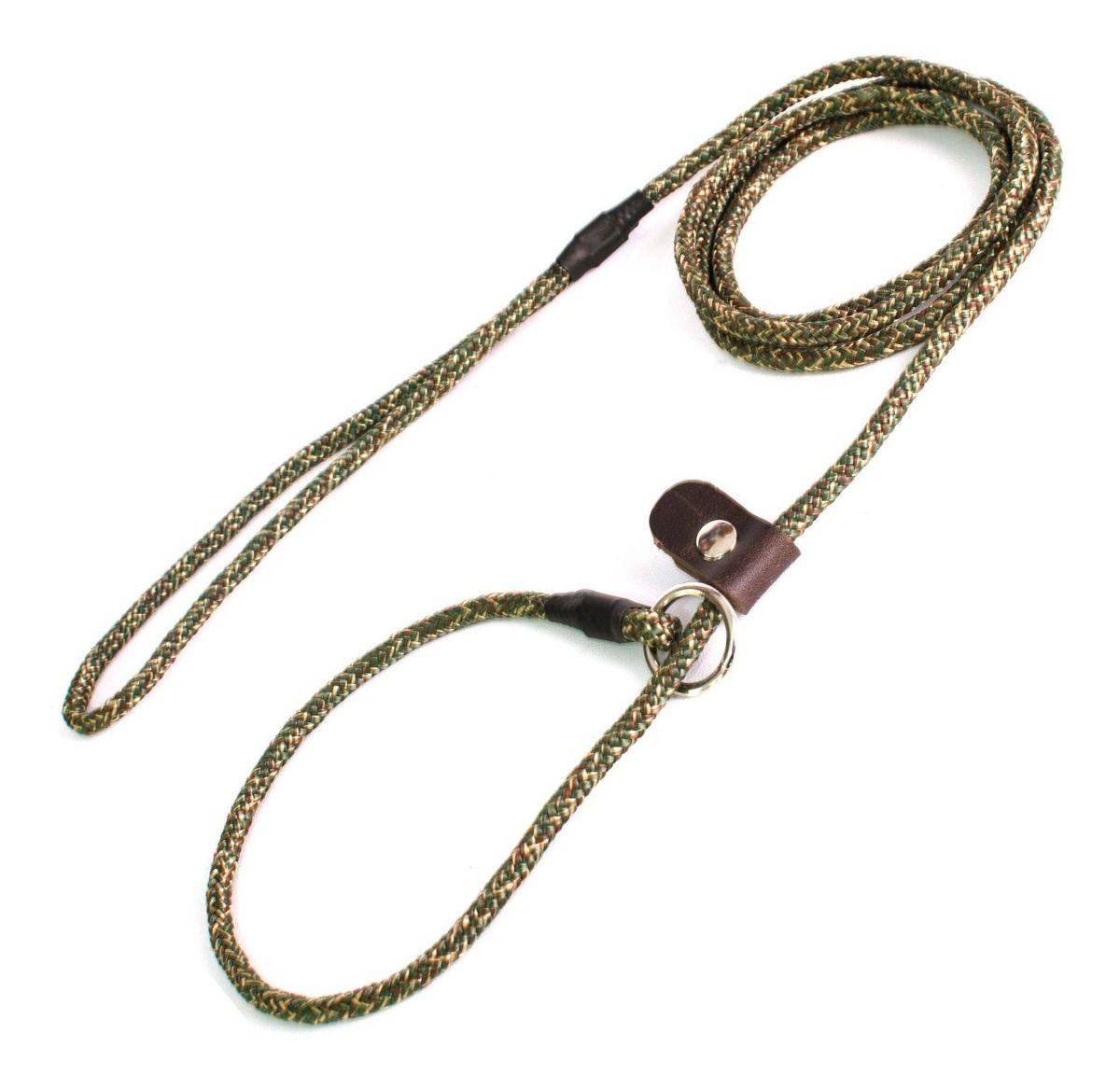 Guia Unificada 6mm Coleira Enforcador Cão Adestramento - Verde Camuflado