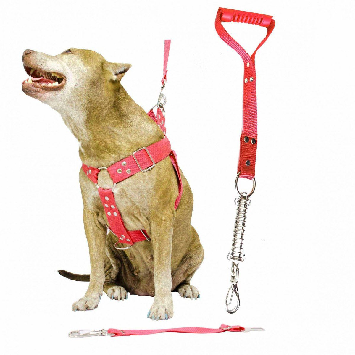 Kit 2x Coleira Peitoral Guia Cinto Segurança Cachorro Doberman Pitbull Anti Puxao - G Preto + Vermelho