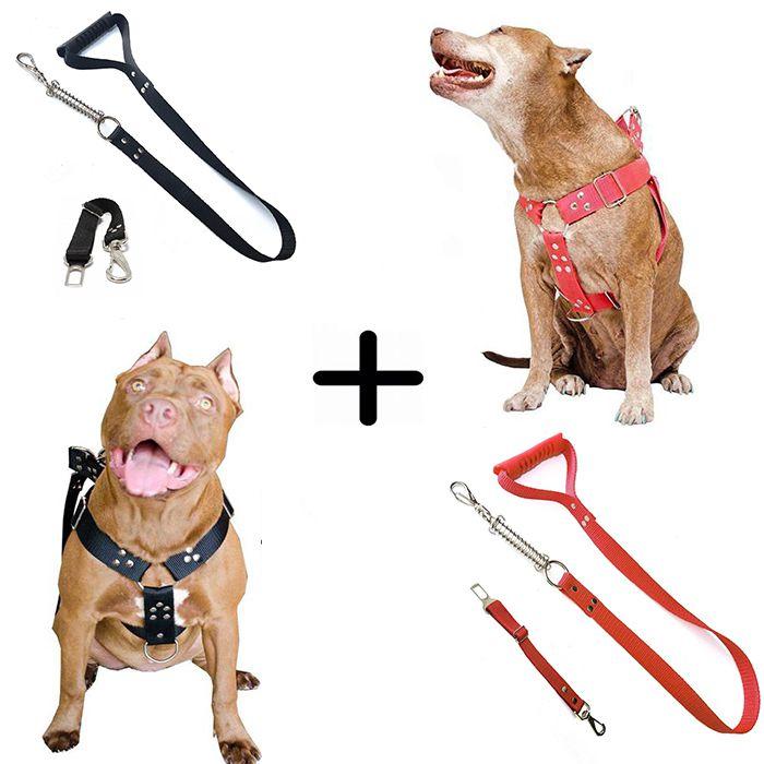 Kit 2x Coleira Peitoral Guia Cinto Segurança Cachorro Doberman Pitbull Anti Puxao - M Preto + Vermelho