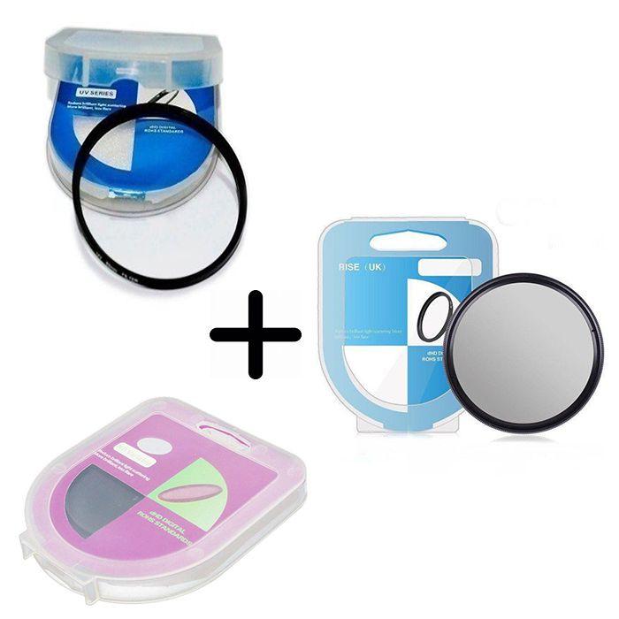 Kit 3 peças Filtros Com Case Uv Dhd + CPL Circular Polarizador + Nd Densidade Neutra Variável De Nd2 Até Nd400 Para Lentes Com Rosca Frontal De 49mm
