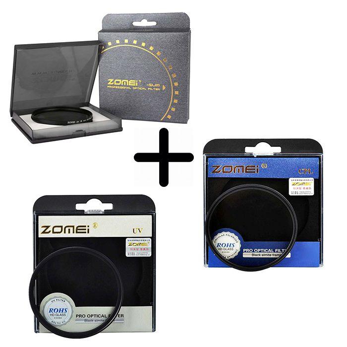 Kit 3 Peças Filtros Zomei Linha Profissional CPL Polarizador Circular  + UV Ultra Violeta + Nd Neutra Variável Nd2 - Nd400 Para Lentes Com Rosca Frontal de 52mm