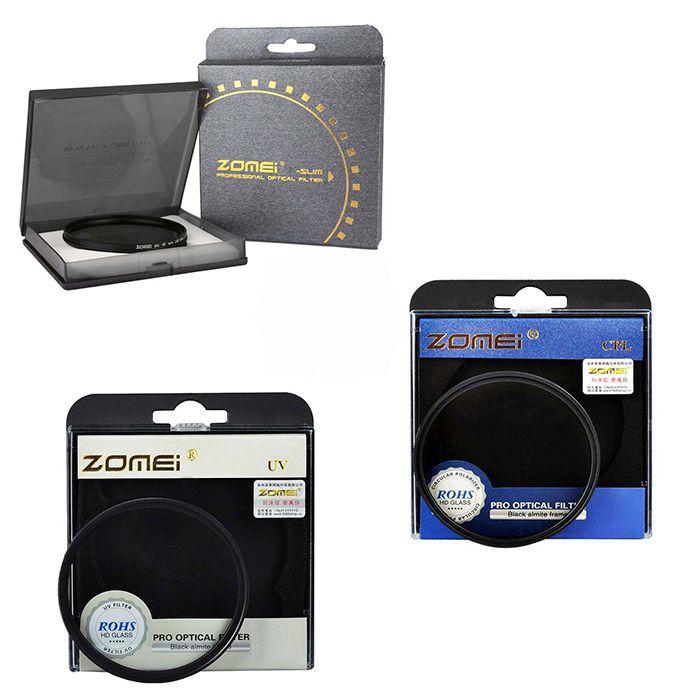 Kit 3 Peças Filtros Zomei Linha Profissional CPL Polarizador Circular  + UV Ultra Violeta + Nd Neutra Variável Nd2 - Nd400 Para Lentes Com Rosca Frontal de 77mm