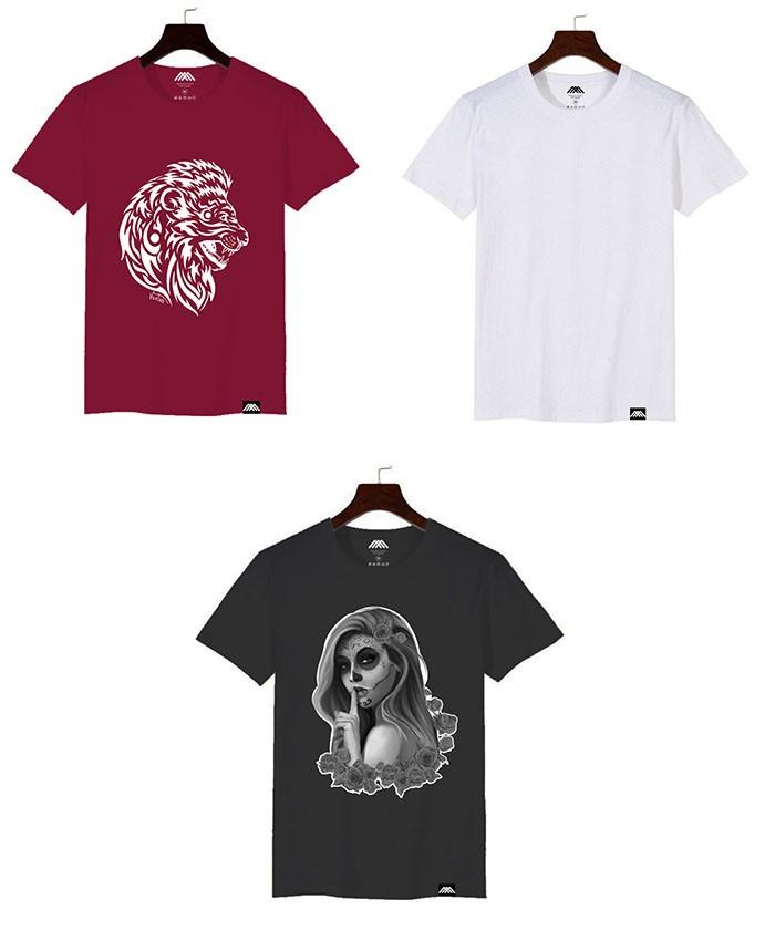 Kit 3x Camisetas Masculina Manga Curta Variadas Lisas e Estampadas Gola Redonda Malha 100% Algodão Fio 30.1 Penteada