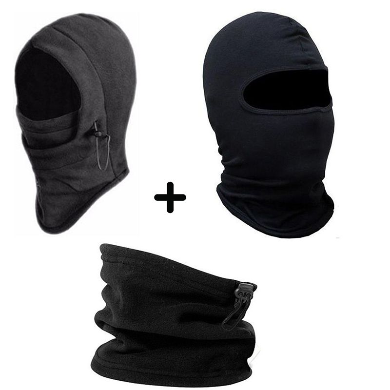 Kit Balaclava Frio Intenso + Gola Soft+ Touca Ninja Segunda Pele lisa Máscara Paintball