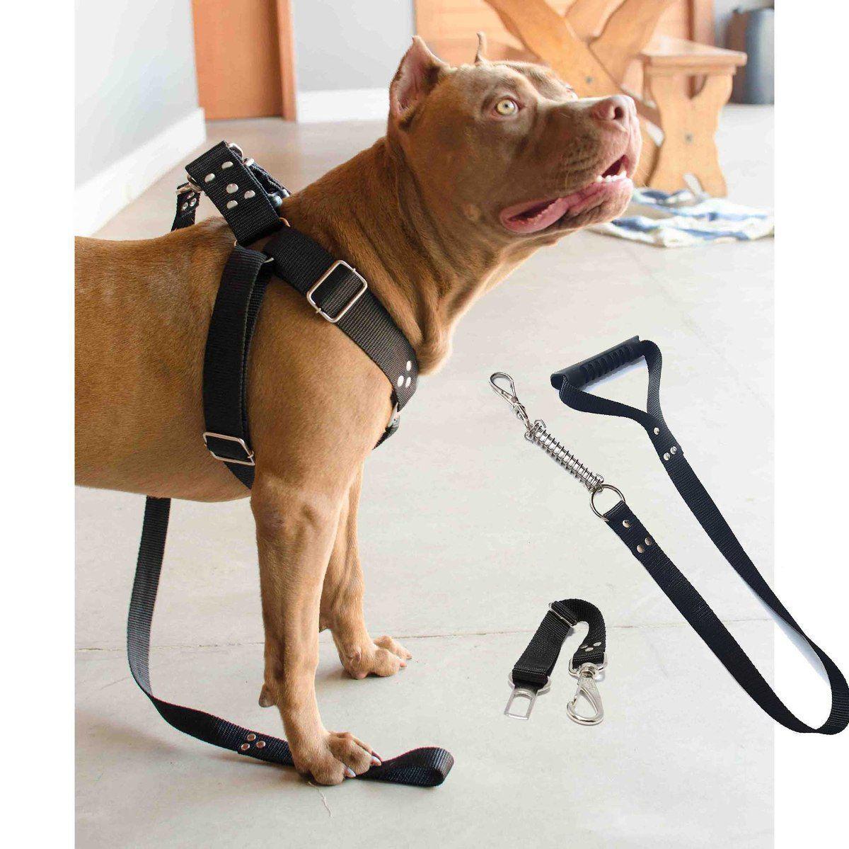 Kit 2x Coleira Peitoral Guia Cinto Segurança Cachorro Doberman Pitbull Anti Puxao - M Preto + Rosa