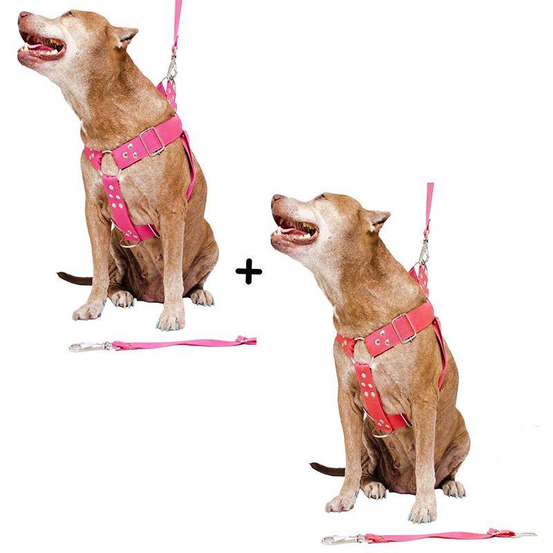 Kit 2x Coleira Peitoral Cachorro Guia Adaptador Cinto Segurança Tamanho G - Cores Rosa + Vermelha