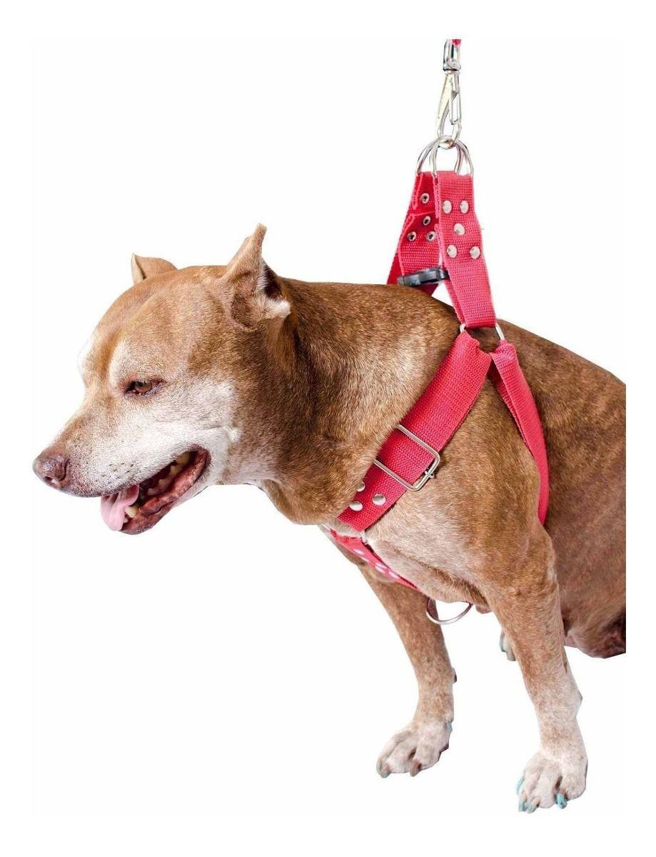 Kit 2x Coleira Peitoral Cachorro Porte Maior Guia Adaptador Cinto Segurança Tamanho M - Cores Rosa + Vermelha